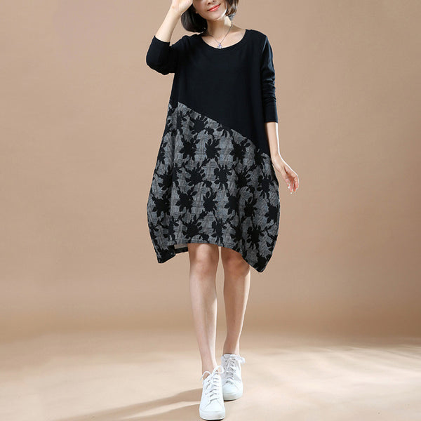 Autumn Large Size Casual Long Sleeve Printing Stitching Cotton Linen Black Dresses - BUYINDRESS