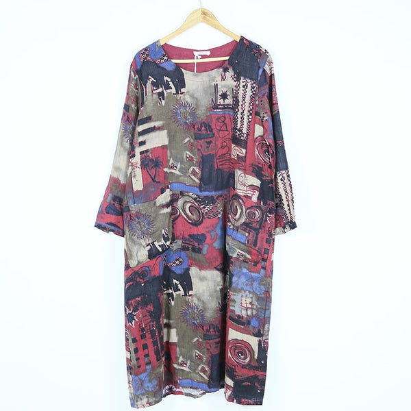 Women Autumn Cotton Linen Print Dress
