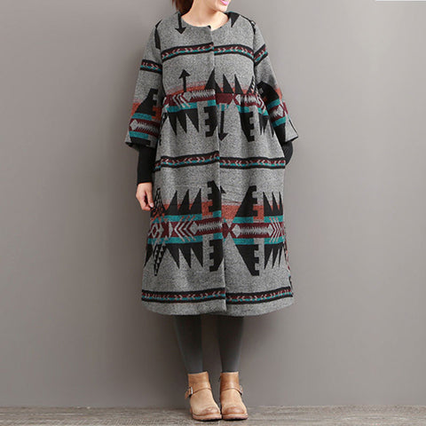 Autumn National Printing Woolen Coat - BUYINDRESS