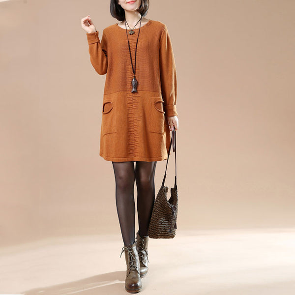 Autumn Round Neck Long Sleeved Knit Sweater - BUYINDRESS