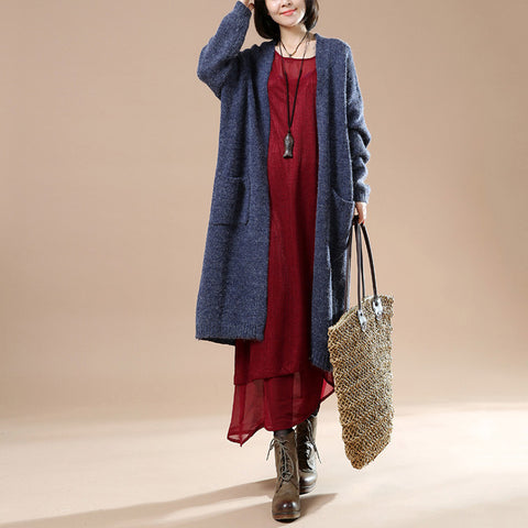 Autumn Blue Women New Long Sleeve Sweater Cardigan Jacket - BUYINDRESS