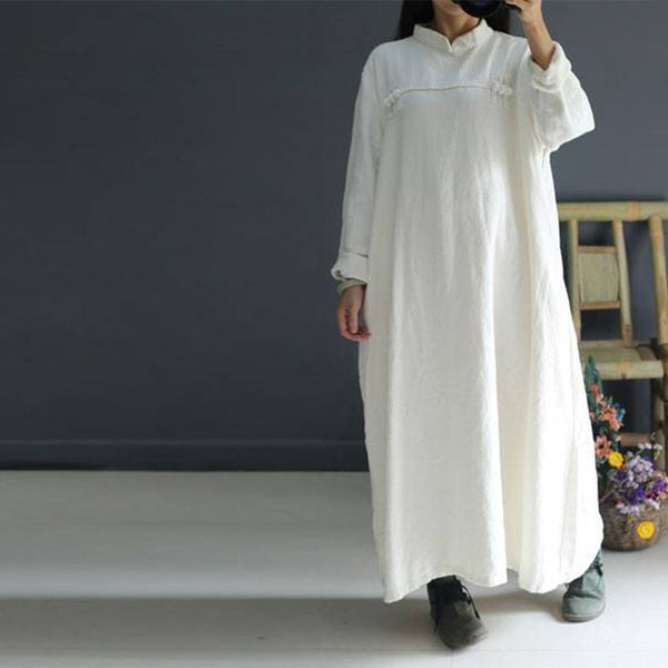 Cotton linen white maxi dress