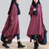 Casual loose Irregular linen long sleeve dress - BUYINDRESS