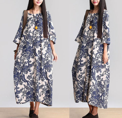 Cotton Linen Loose Fitting Long Maxi Dress Short Sleeve Summer Dresses