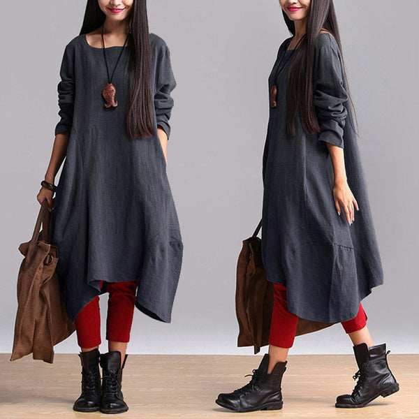 Dress - Cotton Linen Casual Loose Fitting Dress