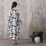 Women long sleeve floral printing loose pockets linen &viscose plus size dresses