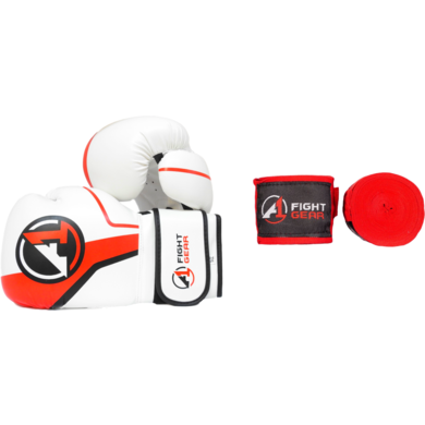 White Boxing Gloves & Handwraps Set - A1 Fight Gear