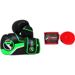 Black/Green Boxing Gloves & Handwraps Set - A1 Fight Gear