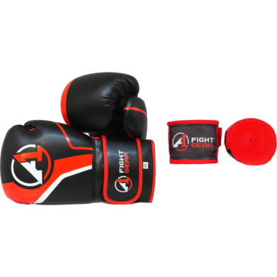 Black/Red Boxing Gloves & Handwraps Set - A1 Fight Gear