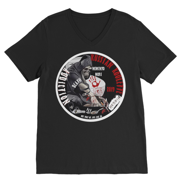 ADDICTION RUSSIAN ROULETTE Premium V-Neck T-Shirt