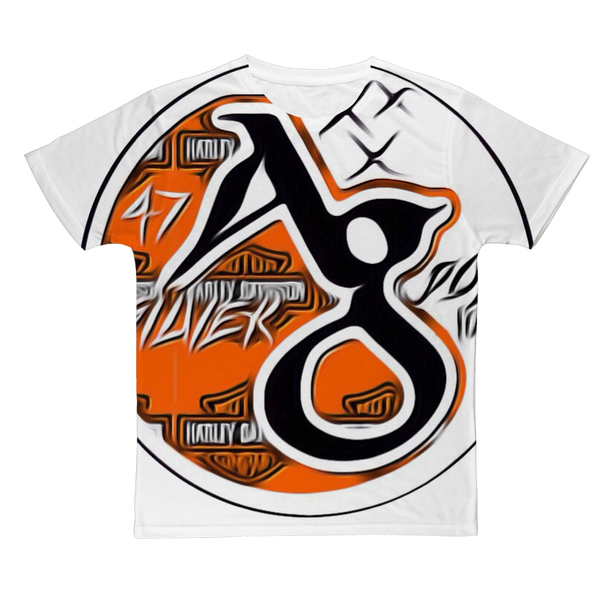 TRADEMARK/LOGO ( ORANGE/BLACK) HARLEY Classic Sublimation Adult T-Shirt