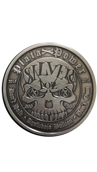 Silver Skull 1oz .999 fine silver antique round/coin, limited mintage (500) custom display box (standard) and (COA) certificate of auth. Limited mintage (500) numbered