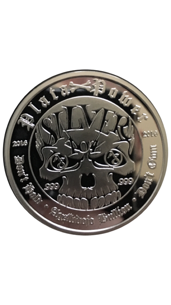 Silver Skull 1oz .999 fine silver proof round/coin ,custom display box (standard) and (COA) certificate of auth. Limited mintage (1000) numbered