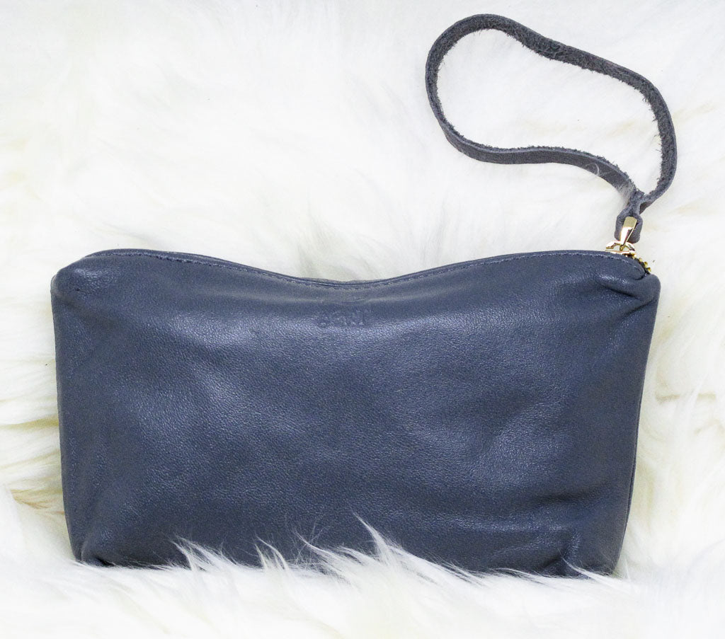 Gray Leather Wristlet