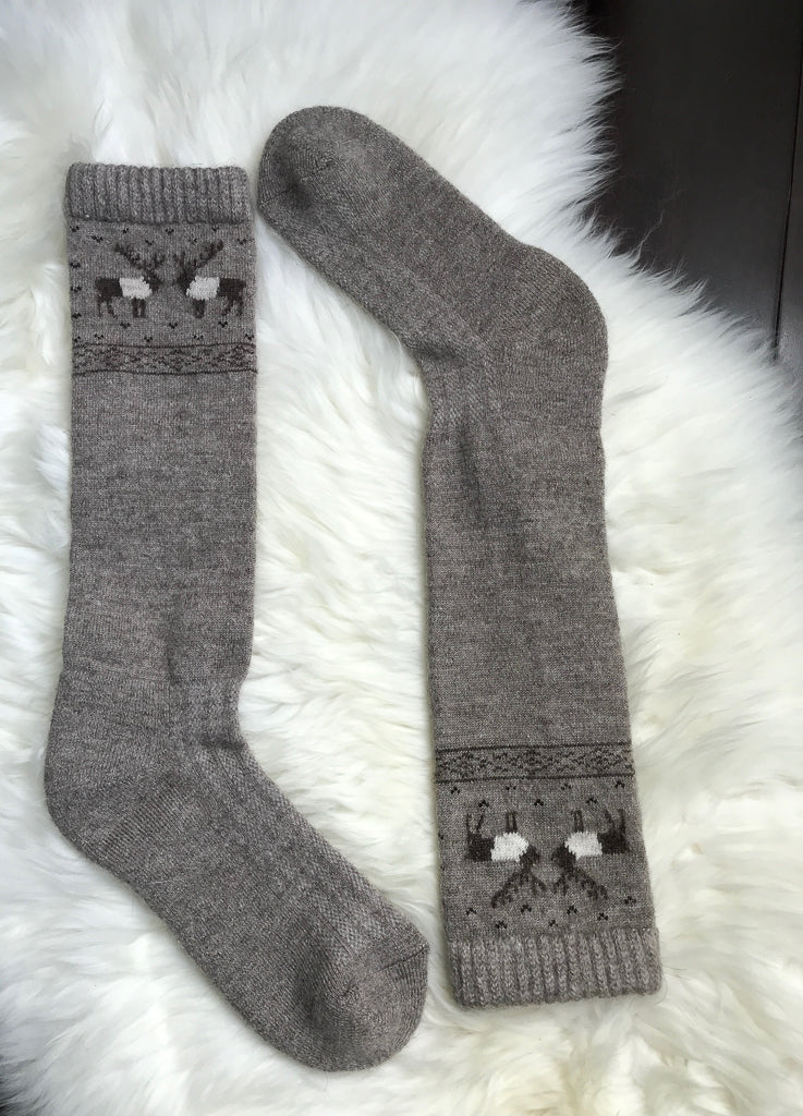 Knee High Reindeer Sheep Wool Socks