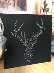 Reindeer Canvas Stitched Art