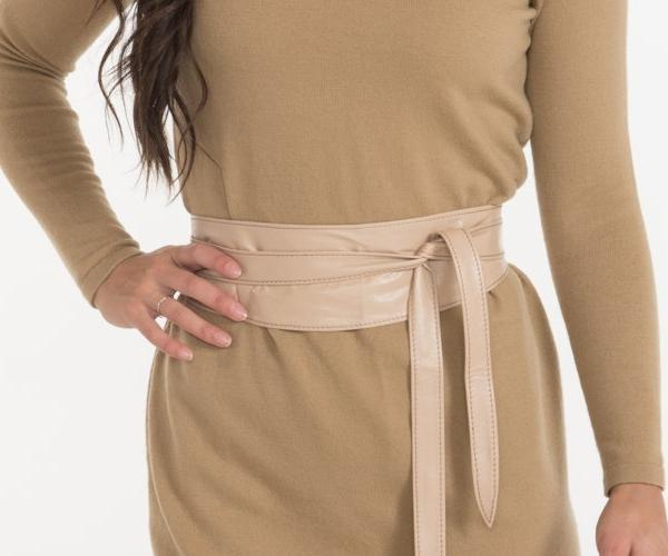 Soft Cream Leather Obi Wrap Belt