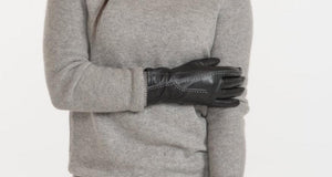 Black Leather Gloves with Decorative White Stitching