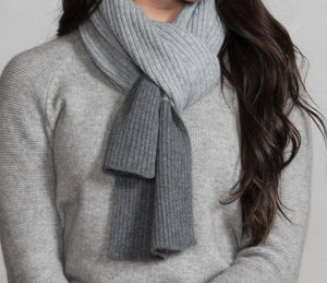 Heather Gray Cashmere Ribbed Scarf