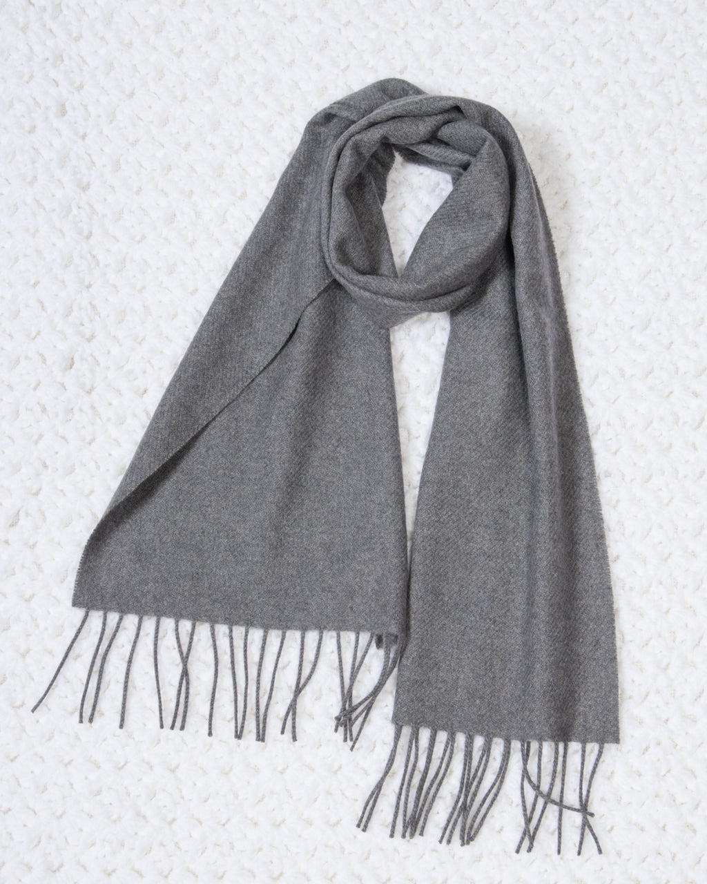 Gray Cashmere Fringed Scarf