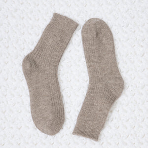 Ribbed-knit Taupe Wool Socks