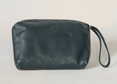 Pine Green Leather Wristlet