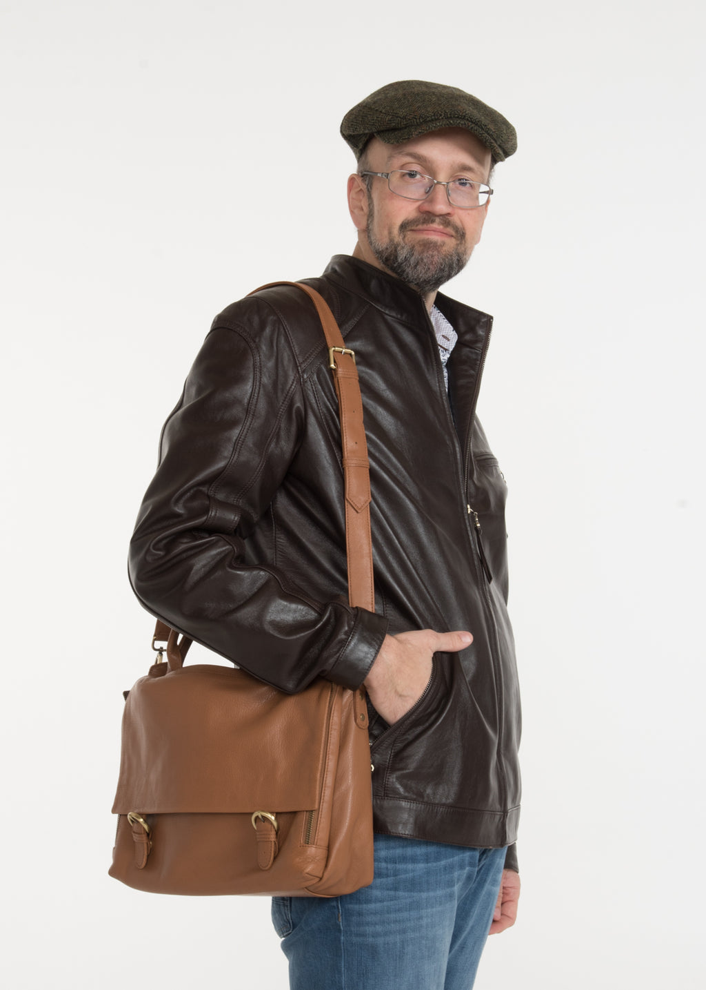 Flapover Leather Briefcase