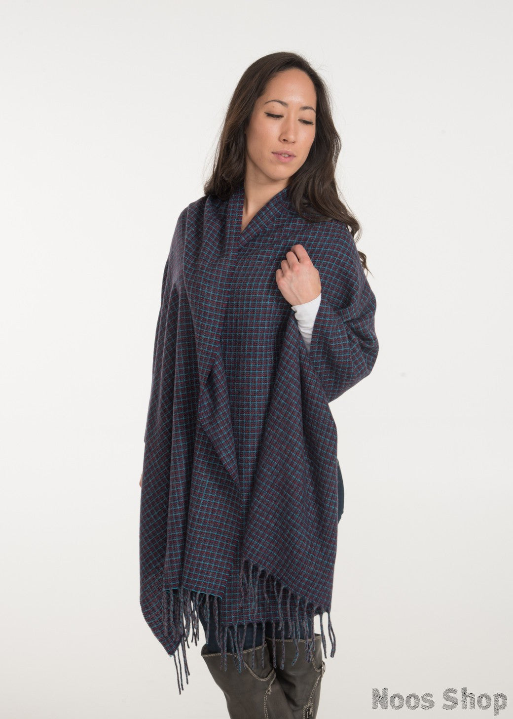 Oversized Plaid Cashmere Shawl
