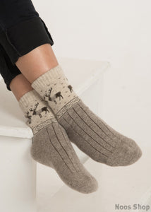 Oatmeal Reindeer Sheep Wool Socks