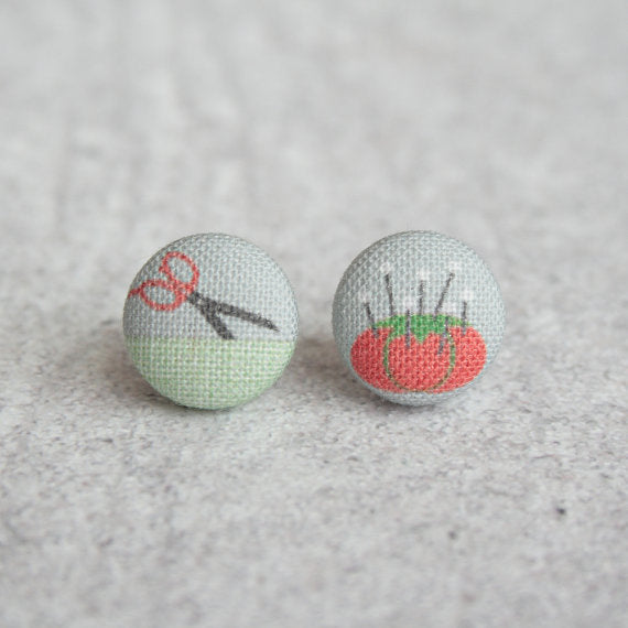 I LOVE Sewing Fabric Button Earrings