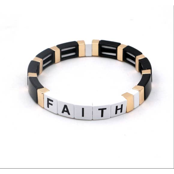 Faith Black, White & Gold Enamel Bracelet