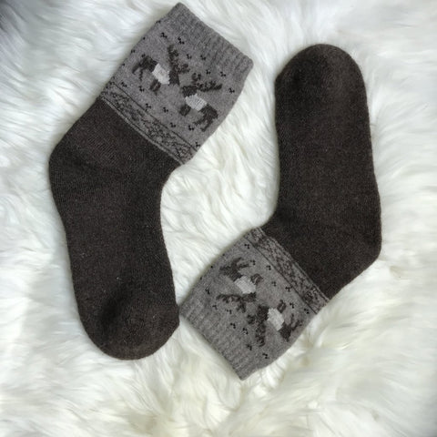 Brown Reindeer Sheep Wool Socks