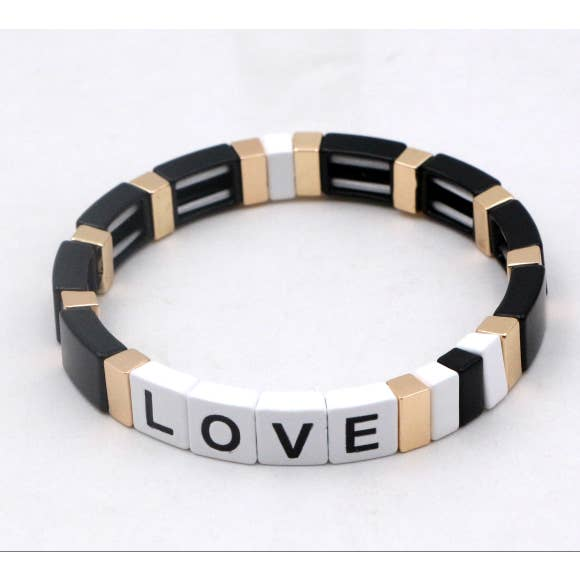 Love Black, White & Gold Enamel Tile Stretch Bracelet