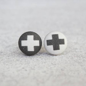 Swiss Cross Button Earrings