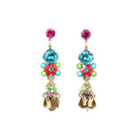 Shangri La Star Flower Post Dangle Earrings