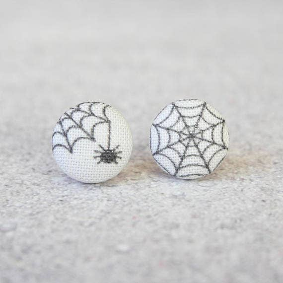 Spider and Web Fabric Button Earrings
