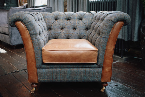 Banbury Club Armchair FT Harris Tweed Grey (100 x 87 x 77cm)