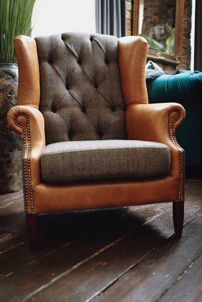 Banbury Wingback Armchair FT Harris Tweed Grey (83 x 90 x 105cm)