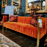Orange Ribbed Sofa