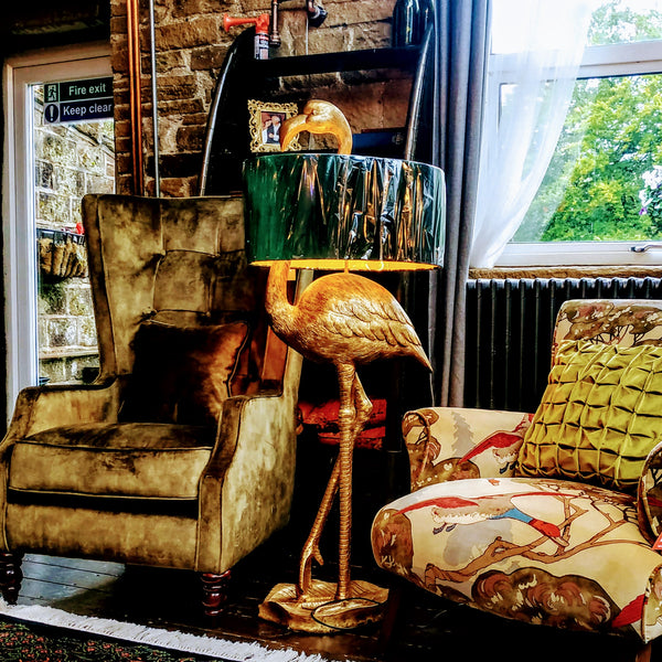 Antique Gold Flamingo Floor Lamp with Green Velvet Gold Lined Shade (55 x 55 x 142cm)