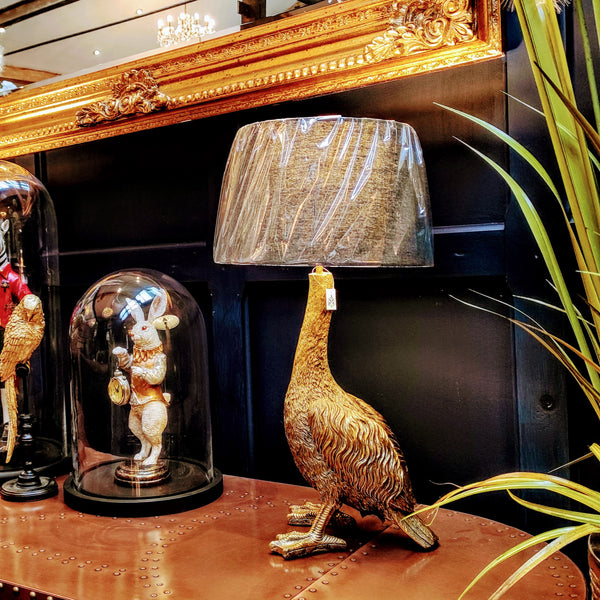 Antique Gold Goose Table Lamp with Grey Shade (31 x 31 x 65cm)