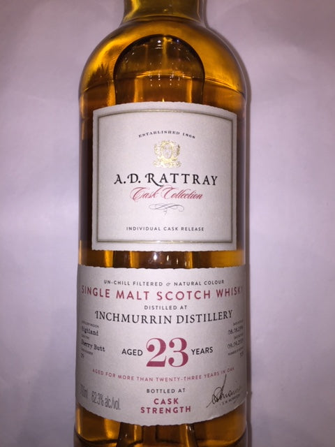 Inchmurrin 23 YO Cask Strength 62.3%Abv, Single Cask. Single Malt whisky. ADR