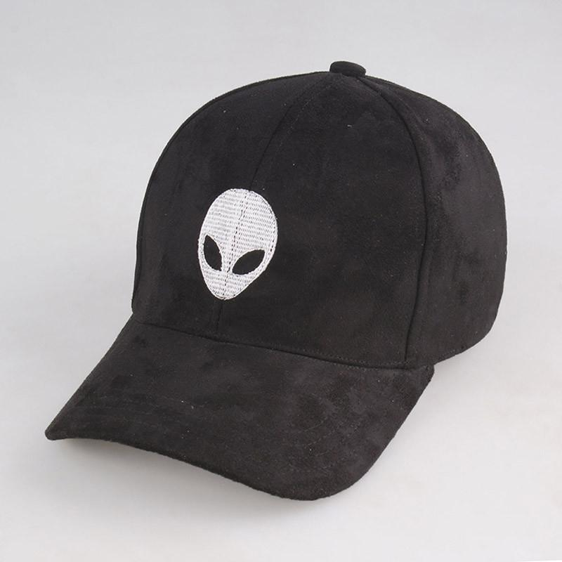 2e2152afbc8 Caps - Alien Embroidered Faux Suede Baseball Cap - Longline Clothing