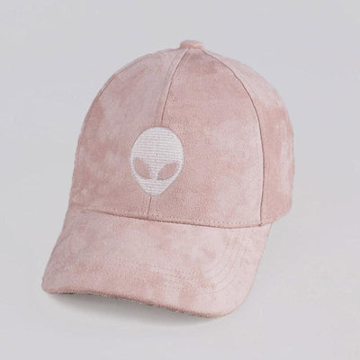 Caps - Alien Embroidered Faux Suede Baseball Cap - Longline Clothing