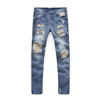 Jeans - Destroyed Zip Denim Jeans