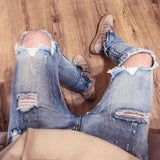 Jeans - Ripped Skinny Fit Jeans With Ankle Zips