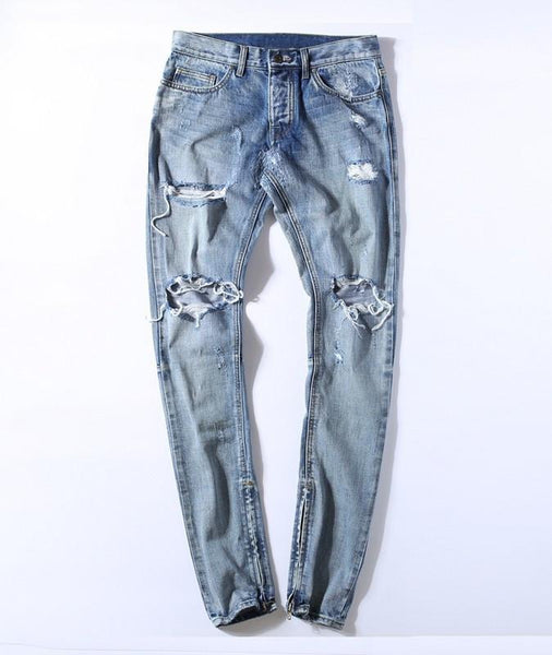 Jeans - Ripped Skinny Fit Jeans With Ankle Zips - Longline Clothing