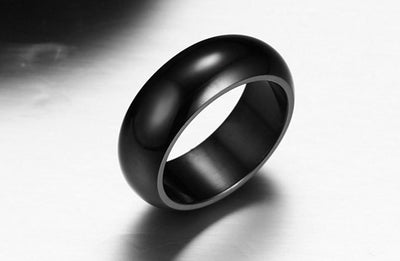 Jewellery - Classic Black Plated Titanium Steel Ring - Longline Clothing