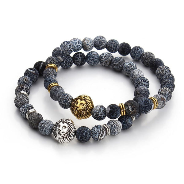 Jewellery - Lion Head Buddha Beads Bracelet - Longline Clothing
