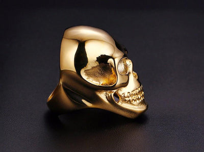 Jewellery - Stainless Steel Biker Skull Ring - Longline Clothing